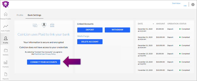 coinlion bank settings_connect your accounts