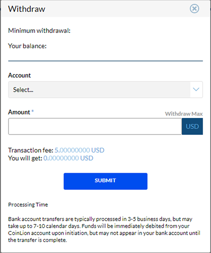 coinlion withdrawal modal